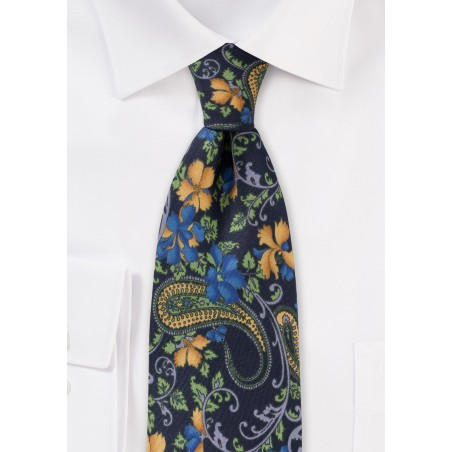 Navy Blue Floral and Paisley Necktie