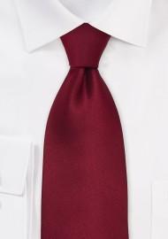Dark Red Silk Ties - Solid Cherry-Red Necktie