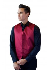 Formal Satin Fabric Dress Vest in Burgundy Styled