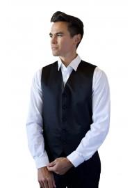 Navy Formal Satin Vest Styled