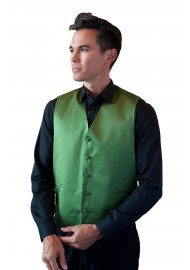 Moss Green Formal Satin Vest Styled