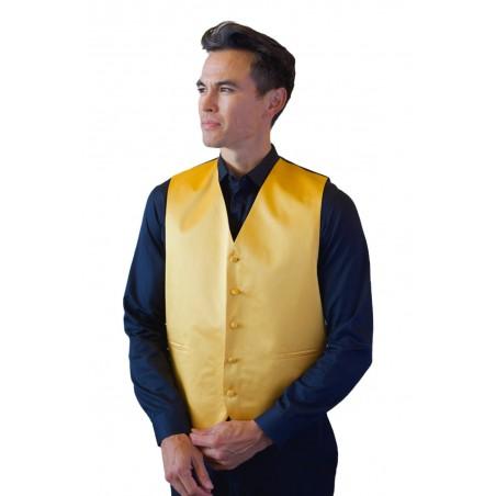 Amber Gold Formal Satin Vest Styled