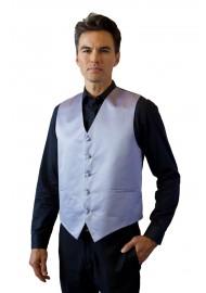 Silver Formal Satin Vest Styled