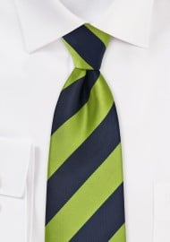 Wide Striped Tie in Dark Navy and Lime Green