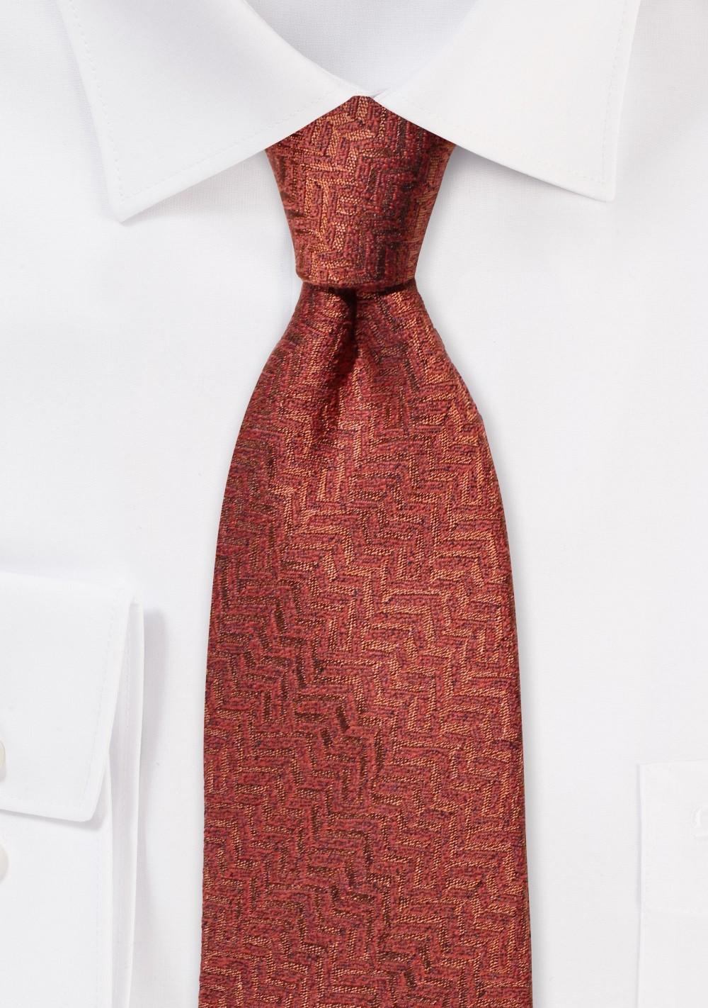 Rust Red Herringbone Wool Necktie