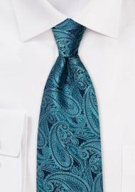 Ink Blue Paisley Silk Tie