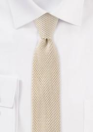 Silk Knit Skinny Tie in Light Cream Color