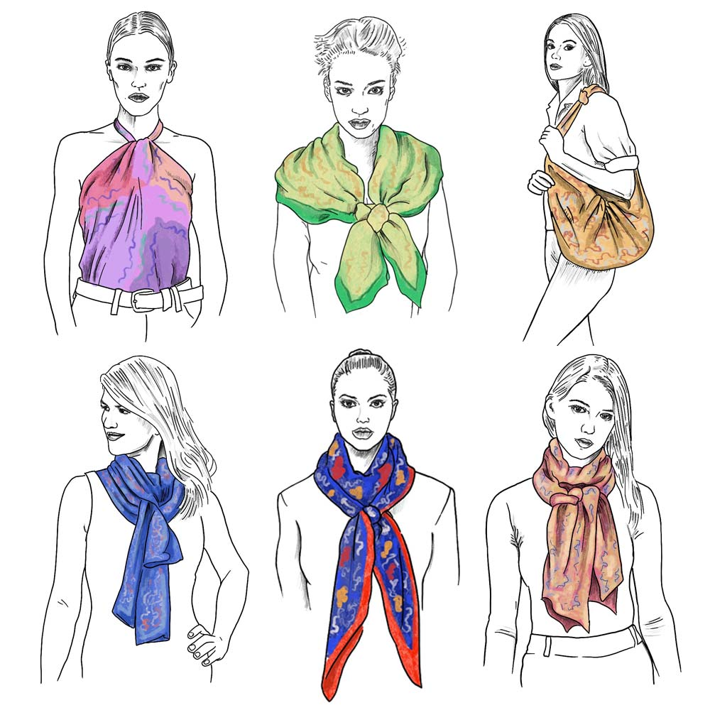 ways to wear a ladies silk scarf