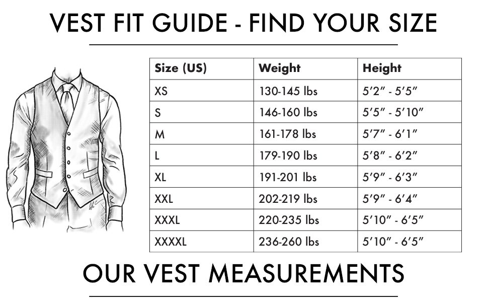 men's suit vest bows-n-ties fit guide