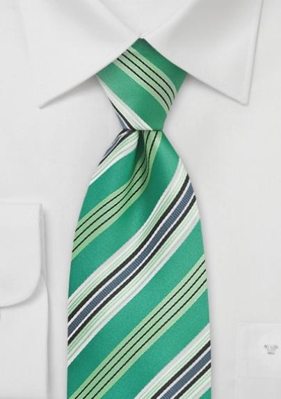 Emerald Kelly Green Striped Tie