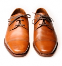 Brown Polished Leather Shoe. Zoom