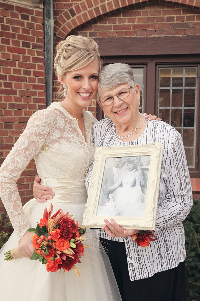 Bride in Her Grandma's Dress