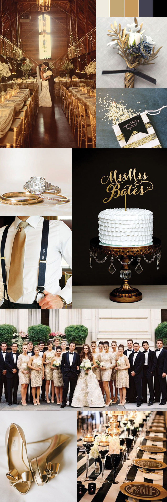 A inspiration wedding palette of golds blacks and whites for All white wedding theme pictures