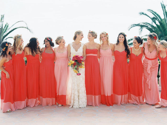 coral-dresses-wedding-party