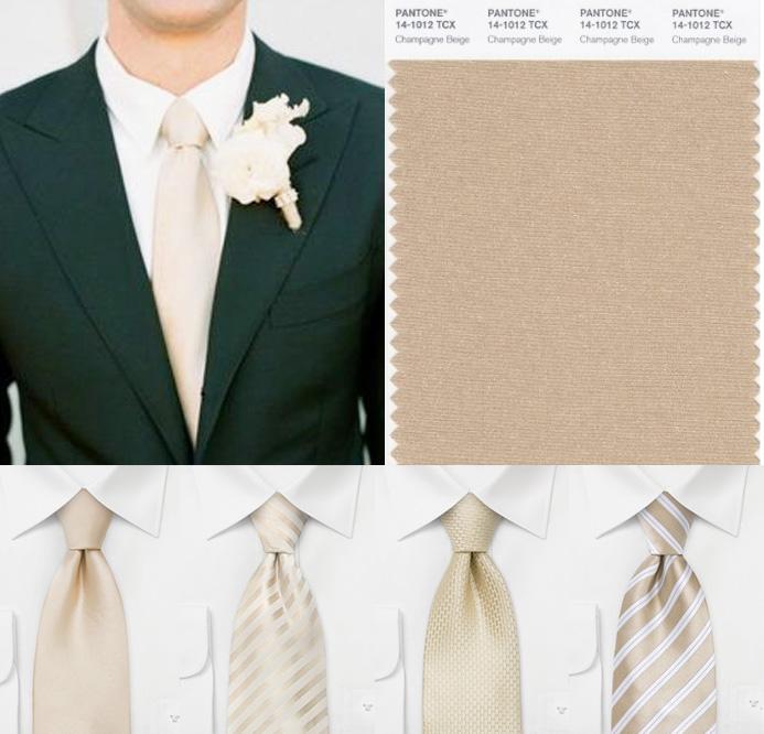 Black suit champagne bow tie