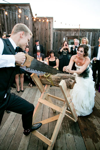 sawing-log-wedding