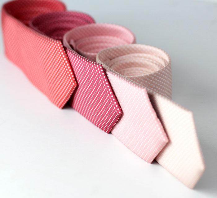 pink pin dot wedding ties