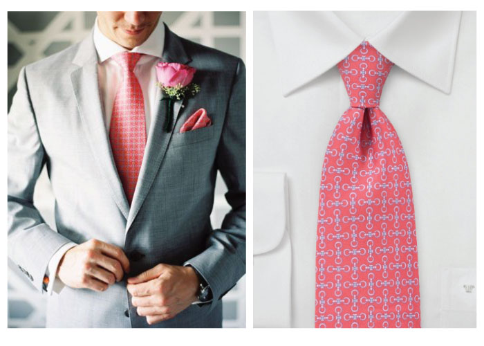 coral necktie wedding color