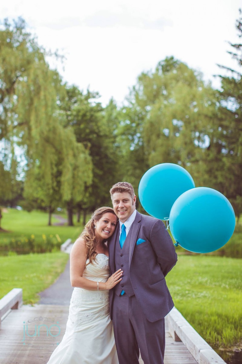Groom in Aqua Tie and Pocket Square