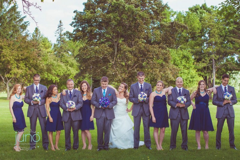 Bridal Party Dressed in Blue