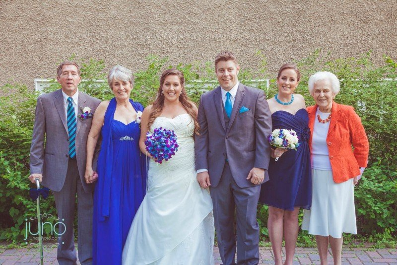 Groom and Bride with Family