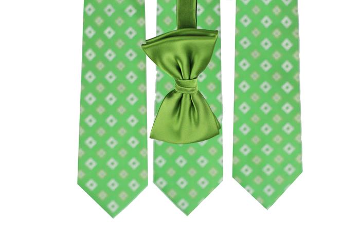 Designer Clover Green Bow Tie
