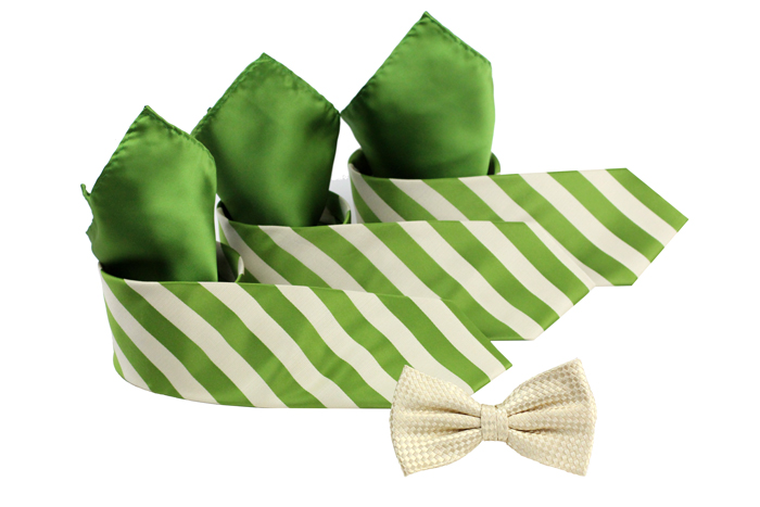 Striped Clover Green and Tan Ties