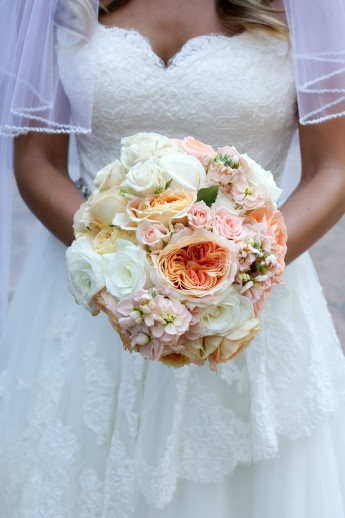 Bride and Her Bouquet of Floweres