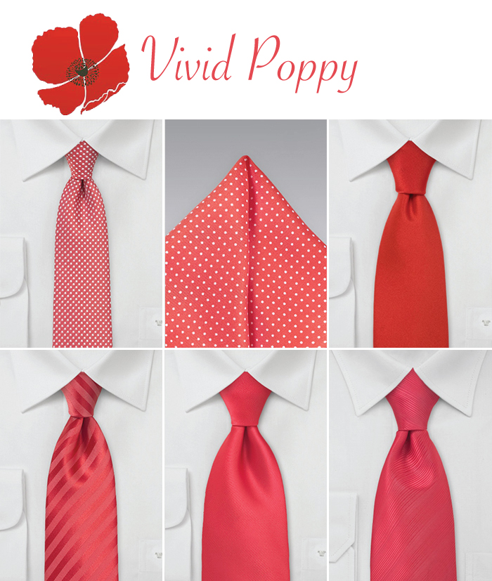 wedding neckties in vivid poppy