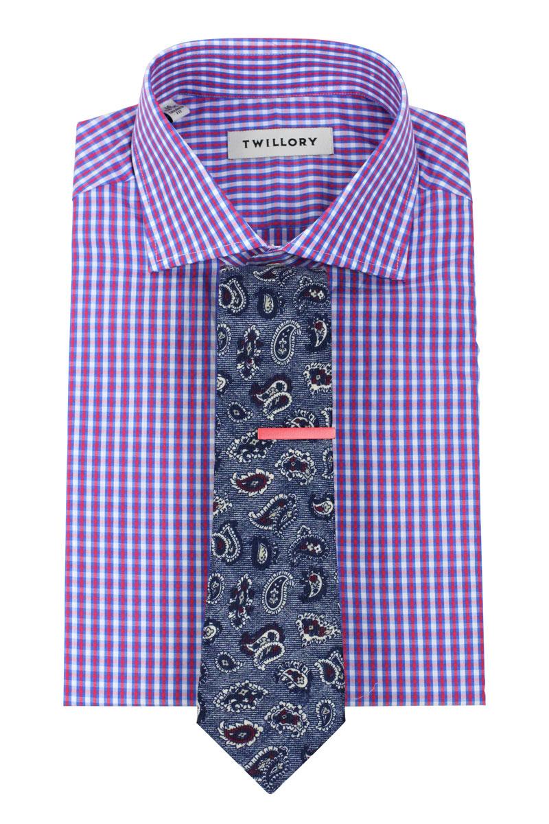 Check Shirt Designer Paisley Tie Pink Bar Combo