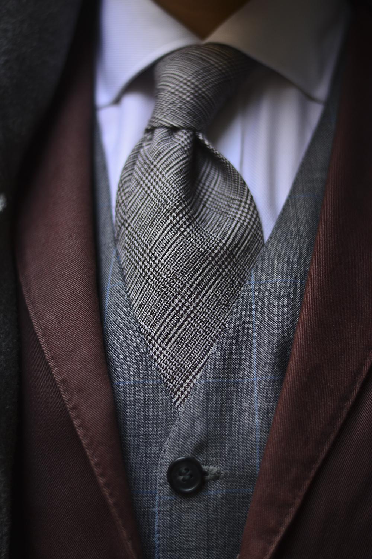 Glen Check Wool Necktie Vest Black White Glen Check Tie