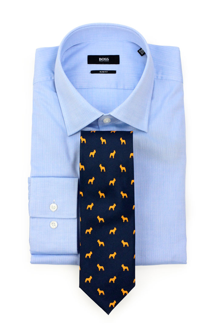 French Bulldog Patterned Tie
