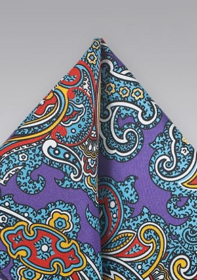 Designer Paisley Pocket Square in Purple