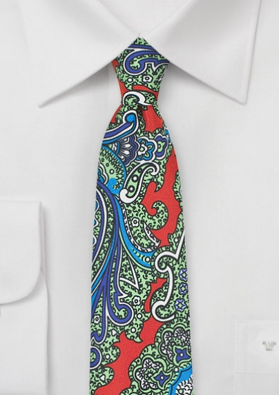 Designer Paisley Skinny Tie