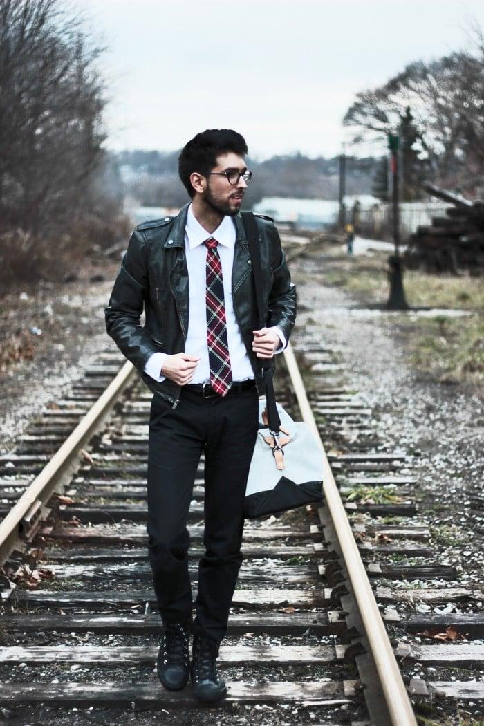 Casual Neckties Flannel Plaid Skinny Tie Leather Jacket