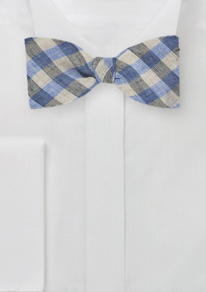 Gingham Bow Tie in Blues
