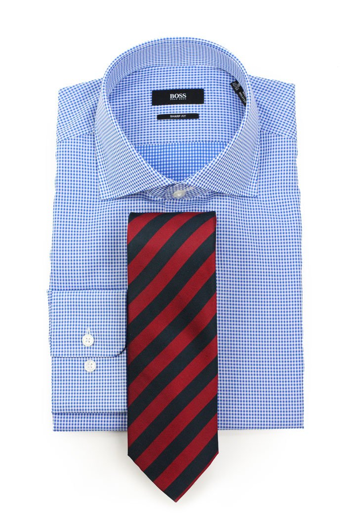 The best ties to pair with micro check dress shirts for Blue check dress shirt