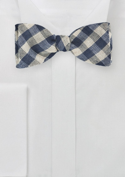 Wool Bow Tie in Navy Gingham