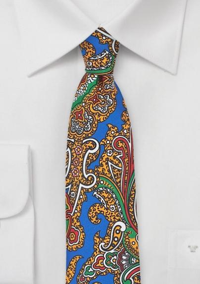 Designer Paisley Skinny Tie in Blue