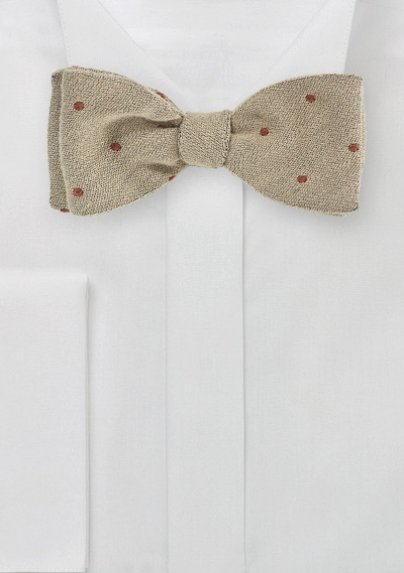 Tan and Red Polka Dot Wool Bow Tie