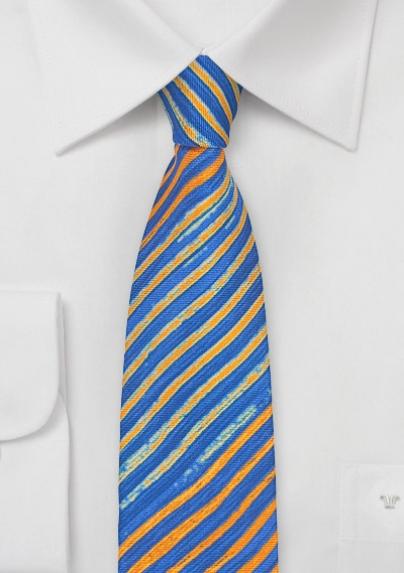 Printed Tie Dye Patterned Tie in Blue + Orange