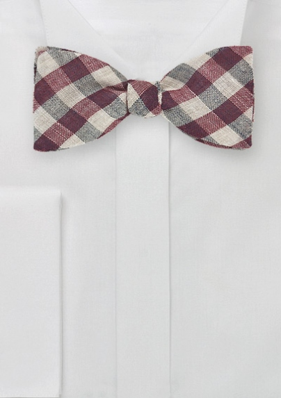 Burgundy and Cream Gingham Bow Tie
