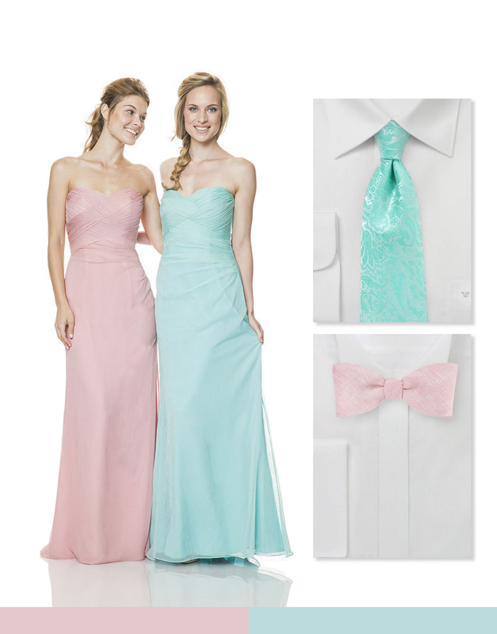 Wedding Party in Mint + Pink