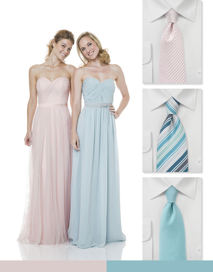 Soft Pink and Blue Wedding Attire