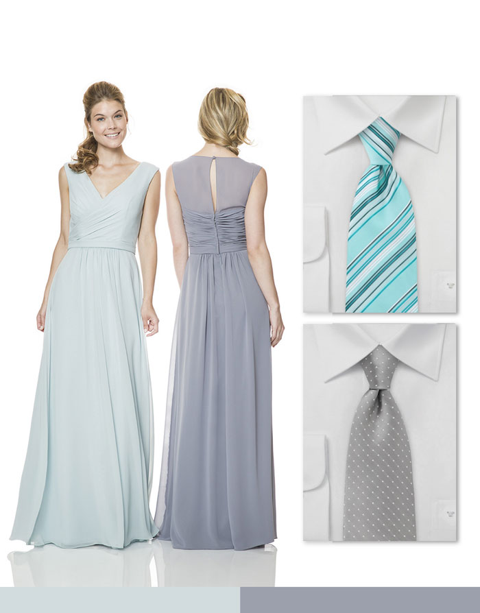 Silver Bridesmaid Dresses and Matching Ties