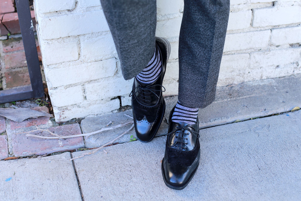 Wool Trousers and Striped Socks