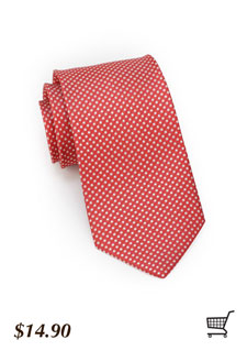 Pin Dot Tie Coral Red