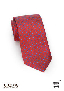 Coral Red Flower Tie