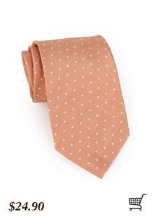 Polka Dot Tie in Peach