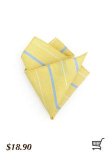 Yellow Pocket Square Striped